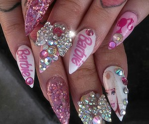 nails, barbie, and pink image