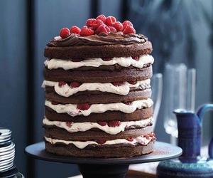 cake, chocolate, and raspberry image