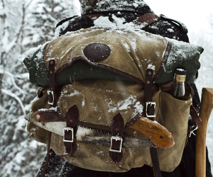 snow, winter, and backpack image