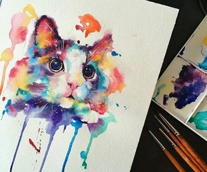 art, cat, and kitten image