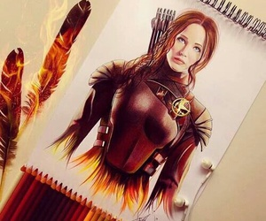 drawing, katniss everdeen, and the girl on fire image