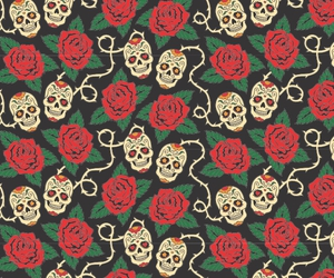 skull, background, and flowers image