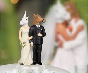 unicorn, horse, and wedding image