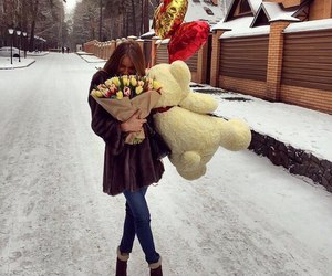 love, girl, and flowers image