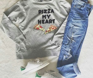 pizza, jeans, and outfit image