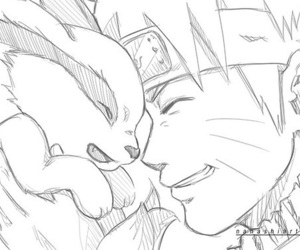 black and white, naruto, and nine tails image