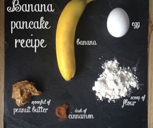 banana, pancakes, and recipe image