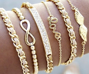 bracelet, gold, and infinity image