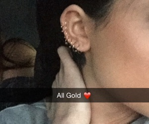 piercing, kylie jenner, and gold image