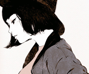 art, short hair, and black hair image