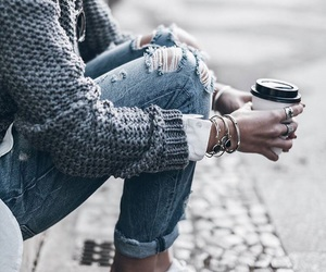 fashion, coffee, and jeans image