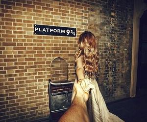 harry potter, platform 9 3 4, and couple image