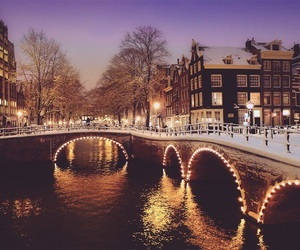 lights, amsterdam, and christmas image