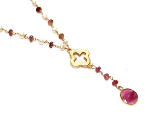 clover, pink necklace, and clover necklace image