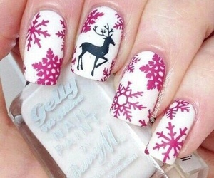 nails, christmas, and pink image