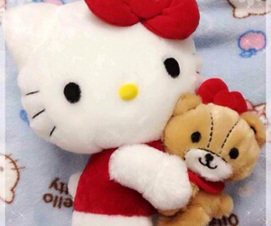 colorful, stuff toy, and helo kitty image