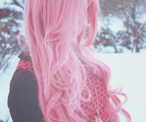 hair, pink, and winter image