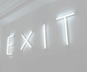 white, exit, and light image