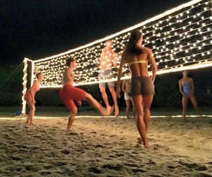 beach volleyball, summer, and volleyball image