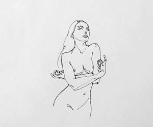 drawing, girl, and lines image