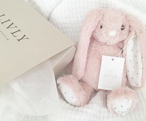 baby, pink, and bunny image