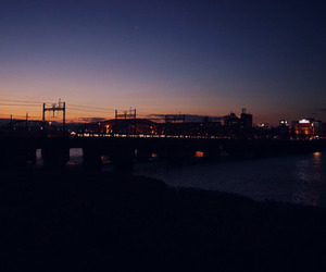 afterglow, night, and railway image