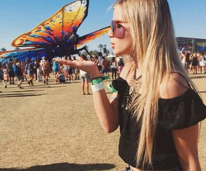 coachella, girl, and butterfly image