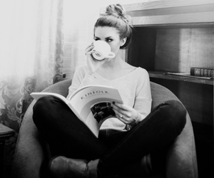 coffee, black and white, and book image