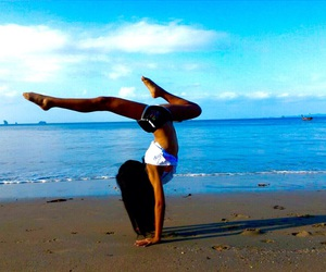 beach, gymnastics, and stretch image