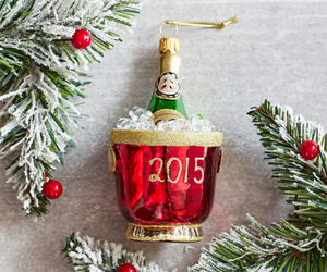 festive, champagne bottle, and holiday ornament image