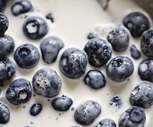 food, blueberry, and milk image