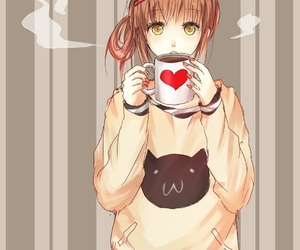 anime, coffee, and cat image