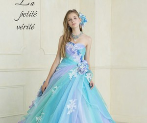 ball gown, blonde, and blue dress image