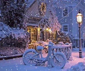 bicycle, house, and snowflakes image