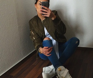 girl, iphone, and jackets image