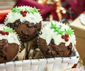 christmas, muffin, and food image