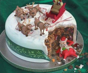 cake, christmas, and santa image