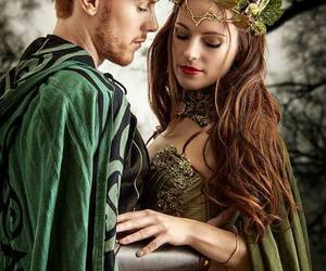 fantasy couple, green fantasy, and firefly path image