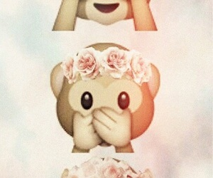 monkey, emoji, and flowers image