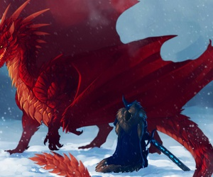 beauty, blue, and dragon image