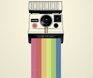 camera, polaroid, and rainbow image