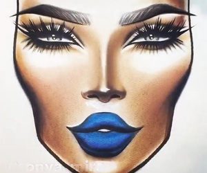 blue, makeup, and face chart image