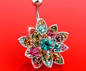 belly button ring, flower, and rainbow image