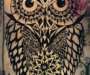 art, owls, and wallpaper image