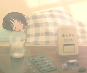 anime, sick, and sleep image