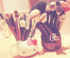 hello kitty, Brushes, and make up image
