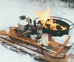 winter, snow, and fire image