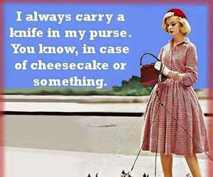 funny, knife, and cheesecake image