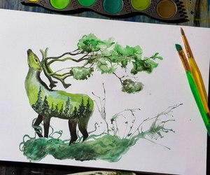 art, draw, and green image