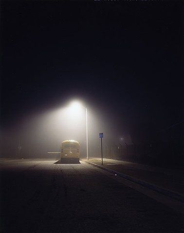 bus, night, and photo image